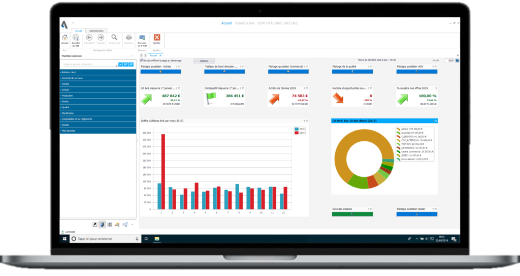 ERP Industria - Accueil - Dashboard