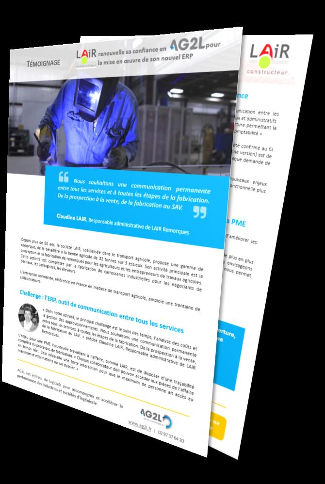 Mockup du témoignage de Claudine LAIR, responsable administrative chez LAIR, une industrie de fabrication de remorques, utilisatrice de la solution ERP Industria