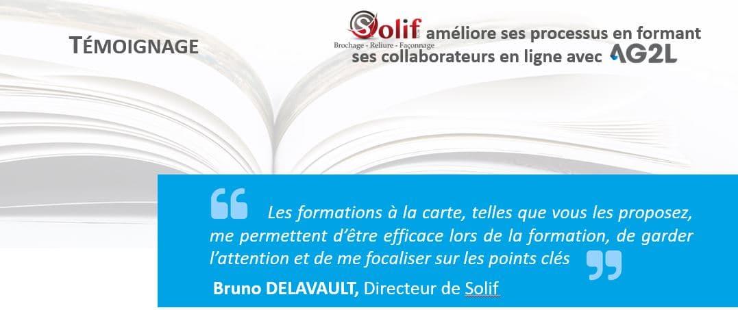 Header du témoignage de l'entreprise SOLIF pour les formations à distance sur l'ERP Industria